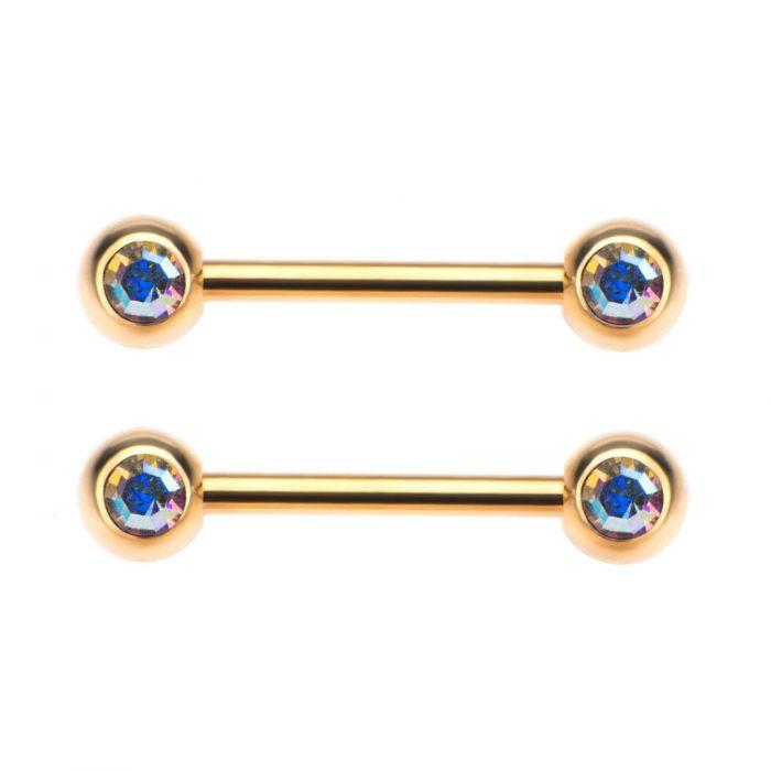 Gold Plated Nipple Barbells 5mm Double Bt4541gpab Pr
